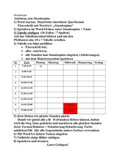 Anleitung Stundenplan in WORD