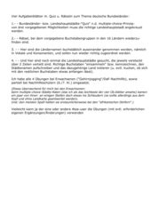 Vier Aufgabenblätter m. Quiz u. Rätseln zum Thema deutsche Bundesländer: