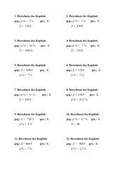 Karteikarten/Freiarbeitsmaterial zum Berechnen des Kapitals mit Lösungen