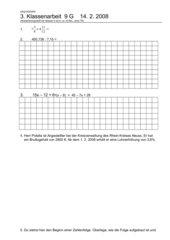3. Klassenarbeit - Zinsrechnung - 9 G