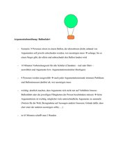 Argumentationsübung: Ballonfahrt