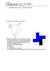 5. Klassenarbeit - Prismen, Zylinder - 9 E