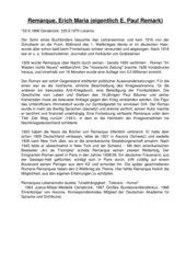 Informationen über E.M. Remarque