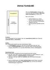 Merk- und Übungsblätter für das Verfassen einer Inhaltsangabe