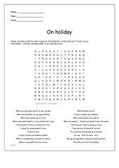 Wordsearch zum Thema Holidays