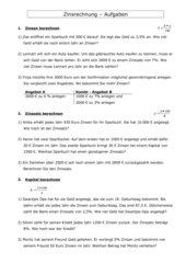 Zinsrechnung getrennte Aufgaben (p, Z, K)