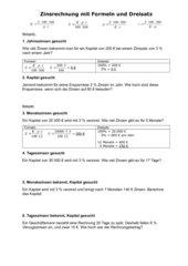 Zinsrechnung mit Dreisatz und Formeln im Vergleich