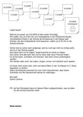 Einschulungsbrief und Materialliste für 1.Schulstufe