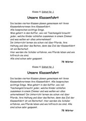 Diktat - Schleichdiktat Klassenfahrt Ponyhof