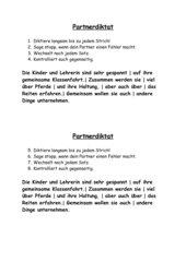 Klasse 3/4: Partnerdiktat, Lernwörter/Pferdewörter