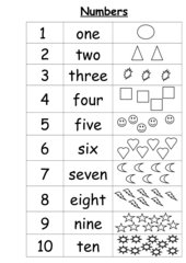 Numbers 1 - 10 (poster and worksheet)