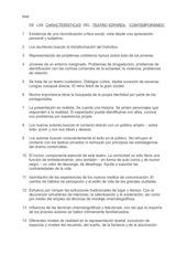 LISTA PRICIPALES CARACTERÍSTICAS DEL TEATRO ESPAñOL AÑOS 80 Y 90