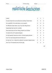realistische Geschichten - Bewertungsbogen