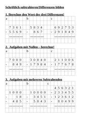 Neue Vorgehensweise bei der schriftlichen Subtraktion natürlicher Zahlen
