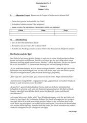 Deutscharbeit Fabel 6. Klasse und Bewertungsbogen