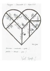 aufwändig gestaltetes Vokabel-Herz-Tangram mit Vorlage