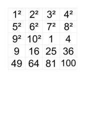 Quadratzahl Zuordnungsspiel bzw. Memo-Spiel Klasse 5 RS