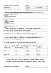 Lernerfolgskontrolle - Zeitformen, Aktiv/Passiv, Wortarten