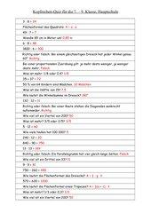 Kopfrechenquiz HS 7.-9. Klasse