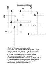 Kreuzworträtsel zum Bericht