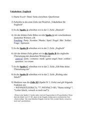 Vokabeltest (in Excel)