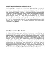 Stationenlernen über das Leben J.S.Bach Klasse 5