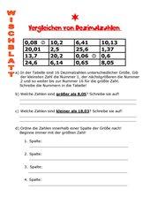 Ordnen von Dezimalzahlen - Freiarbeitsmaterial Klasse 5