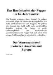Handelsreich der Fugger im 16. Jahrhundert