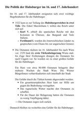 Politik der Habsburger im 16. und 17. Jahrhundert