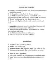 Arbeitsblatt Satzreihe und Satzgefüge/ Zusammenfassung