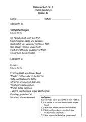 Klassenarbeit Nr.3 im Fach Deutsch - Gedichte