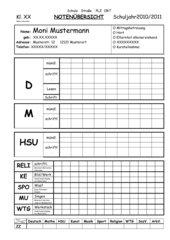 Leistungsübersichtsblatt für Grundschullehrer für einen Schüler