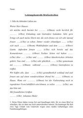 Leistungskontrolle Briefeschreiben