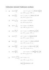 Übung zum Zeichnen gebrochen-rationaler Funktionen