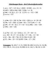 Gleichungen in drei Schwierigkeitsstufen lösen
