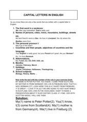 Großschreibung im Englischen  - Rules for capital letters