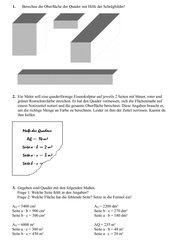 Schrägbilder und Oberfläche Quader, Aufgaben mit Lösungen