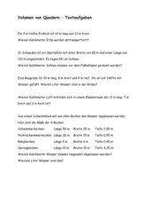 Volumen von Quadern, einfache Textaufgaben