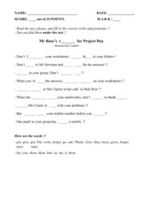 Verbs and pronouns, Unit 4, Orange Line 1