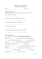English Class Test 6.Klasse Gym