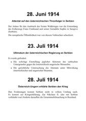 Zeitleiste - Verlauf des Ersten Weltkriegs 1914 - 1918