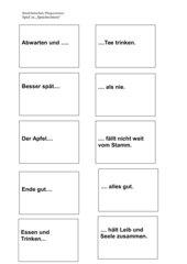 Memo-Spiel / Zuordnungsspiel mit Sprichwörtern