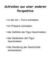 Plakat zum Schreiben mit Perspektivwechsel