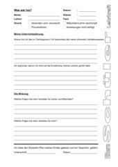 Reflexionsblatt Unterrichtsstörung