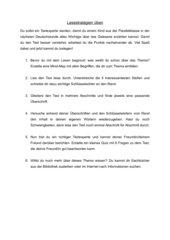 allgemeines Übungsblatt zum Lesestrategietraining