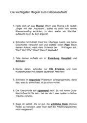 Regeln zum Erlebnisaufsatz