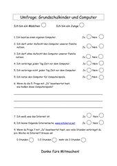 Umfrage: Grundschulkinder und Computer