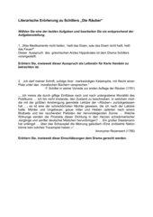 Klausurvorschlag Oberstufe Literarische Erörterung Räuber