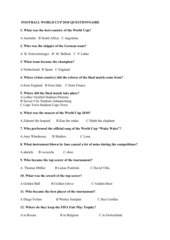 World Cup Questionnaire