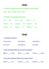 Umwandeln von Größen: Länge - Fläche - Volumen